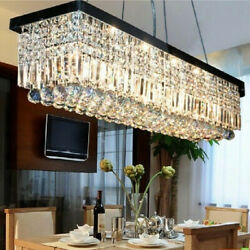 6080CM  K9 Crystal Pendant Light Rectangle Ceiling Lamp Chandelier Lighting US