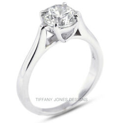 1.55ct G-SI2 Exc Round Natural Diamond 18k Gold Cathedral Solitaire Ring 4.9gram