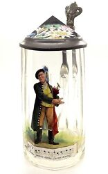 19TH CENTURY HAND PAINTED CZECH CRYSTAL BEEN STEIN ~I KNOW A GIRL SHE HAS MONEY~