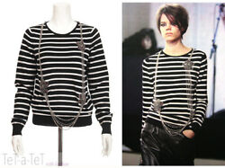 08A CHANEL Black White Jeweled Chains SWEATER TOP FR-36