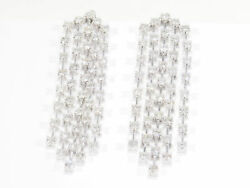 14K Diamond Earrings Chandelier Dangle Drape White Gold