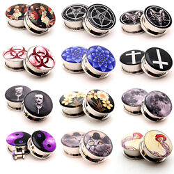 Pair of Screw on Picture Plugs gauges Choose Style and Size 16g thru 1 inch $8.99