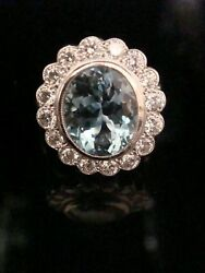EDWARDIAN STYLE 18CT WHITE GOLD NATURAL AQUAMARINE 3.70CT & DIAMOND 0.80CT RING