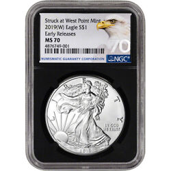 2019-(W) American Silver Eagle - NGC MS70 - Early Releases - Grade 70 - Black