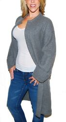 Polo Ralph Lauren Womens Cashmere Cardigan Wrap Knee Sweater Coat Gray Medium