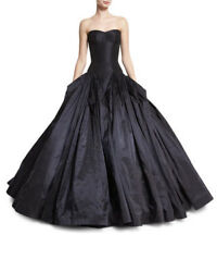 NEW Zac Posen Strapless Drop-Waist Faille Ball Gown - Faille Navy - Size: 6