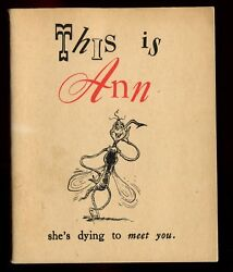 WWII 1943 DR SEUSS 1st Ed  THIS IS ANN SHE'S DYING TO MEET YOU Anti-Malaria Book