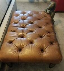 HELP RESCUE DOG CANCER❤️Councill leather ottoman was over $2200 new DFW TEXAS