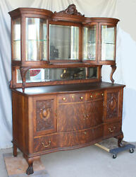 Antique Oak Sideboard Buffet with Curved Glass Curio Cabinets on Top - Fancy