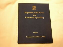 IMPORTANT GOLD BOXES AND RENAISSANCE JEWELRY CHRISTIE#x27;S AUCTION GENEVA 1984 $49.95