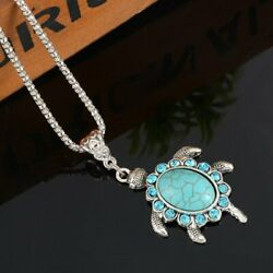Women Boho Turquoise Rhinestone Turtle Pendant Silver Plated Chain Necklace Gift