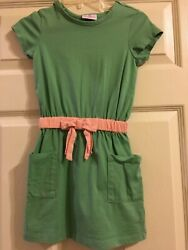 Hanna Andersson Green Dress Girls Take A Bow Red Trim Pocket Dress Size 110 5-6