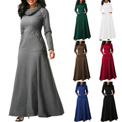 Womens Cowl Neck Maxi Dress Casual Long Sleeve Loose Fall Winter Swing Dresses A $16.99