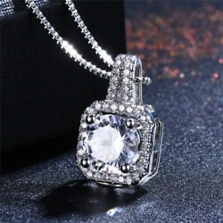Classic Fashion Round White Sapphire CZ 925 Silver Pendant Necklace Jewelry Gift