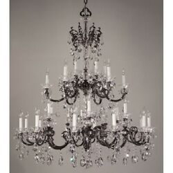 Classic Via Lombardi 30 Lt Chandelier Ebony Pearl Crystalique-Plus - 57060EPCP