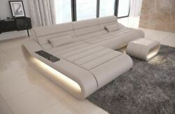 Design Leather Sofa Concept L Shape long  Luxury corner Couch with LED lights