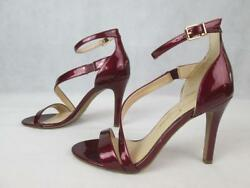 JESSICA SIMPSON JOCELIN BURGUNDY PATENT LEATHER STRAPPY SEXY HEELS 7M37 NEW