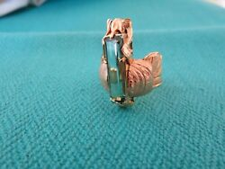 MARGARET BARNABY SIGNED 18K BIUE-GREEN TOURMALINE INSECT RING ONE OF A KIND