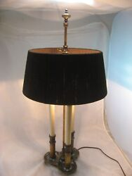 STIFFEL TABLE LAMP VINTAGE BRASS 3 WAY CANDLE LIGHT FRENCH BOUILLOTTE RARE SHADE $99.99