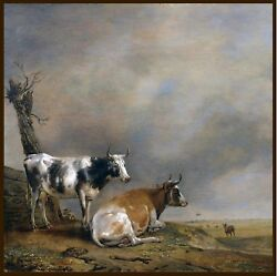 Paulus P Potter Two Cows and a Goat antique painting classic BEAUTIFUL ART