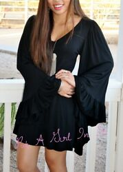 SEXY LITTLE BLACK BOHO FULL BELL WING SLEEVE BOHO HOT MINI DRESS S M L XL USA $28.75