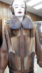 CLEARANCE Muskrat Zip Jacket with Bronze Leather Trim and Earmuffs sz 12