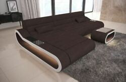 Fabric Sectional Couch Concept L Shape long Luxury Design Corner LED Light