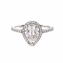 Peter Suchy Pear Shape Diamond Halo Ring 14k White Gold GIA Certified