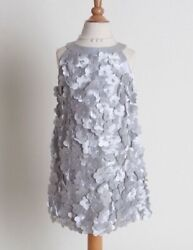 kate mack biscotti designer girls silver satin flower Easter dress retail $108