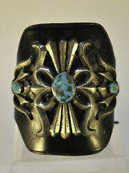 Fine Navajo Keto - Bow Guard - Sand Cast with Turquoise c. 1950-1970 Bracelet