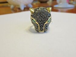 EFFY 14K YELLOW GOLD 3.80 CT BLACK DIAMOND & EMERALD PANTHER RING SZ 9  26 X 22