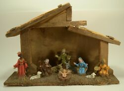 Italian Italy Wooden Nativity Christmas Mary Joseph Jesus Kings Sheep Manger
