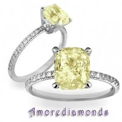 1.83 ct GIA fancy intense yellow color natural cushion diamond engagement ring