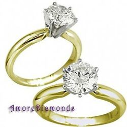 2.05 ct J SI2 round natural diamond solitaire engagement ring 18k 2 tone gold