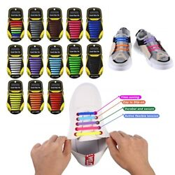 No Tie Shoelaces Elastic Shoe Laces Silicone Rubber For Kids Adults Sneakers $4.79