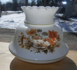 VINTAGE SHADE WHITE w NICE FLORAL FRONT amp; BACK for OIL ELECTRIC LAMP or SCONCE $9.95