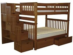 Bedz King Bunk Beds Full over Full Stairway 4 Step & 2 Bed Drawers Espresso