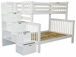 Bedz King Bunk Beds Twin over Full Stairway with 4 Step Drawers White