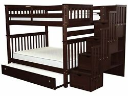 Bedz King Bunk Beds Full over Full Stairway 4 Drawers & Full Trundle Cappuccino