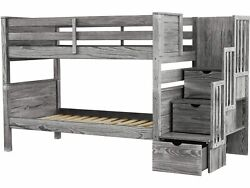 Bedz King Bunk Beds Twin over Twin Stairway with 3 Step Drawers Rustic Gray