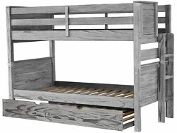 Bedz King Bunk Beds Twin over Twin with End Ladder and Trundle Rustic Gray