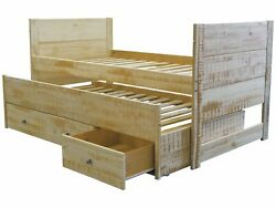 Bedz King All in One Twin Bed with Twin Trundle and 3 Drawers Rustic Honey