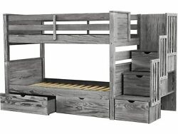 Bedz King Bunk Beds Twin over Twin Stairway 3 Step & 2 Bed Drawers Rustic Gray