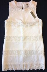 J Crew Dress 6 Lace & Pique Stripe Shift NWT $175 61239 NWT NEW Ivory IVO $47.96