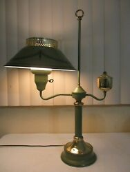VINTAGE MID CENTURY METAL amp; MILK GLASS TOLE WARE LAMP OLIVE GREEN DESK OR TABLE $55.99