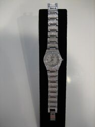 St. James CRYSTAL and Silver Tone WRISTWATCH Size 6 1 2 $25.00