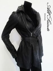 STUNNING WOMEN ALL SAINTS NETIA LEATHER JACKET DECONSTRUCTED BIKER BLACK 8 £450 $312.75