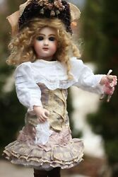 Jumeau Leopold Lambert 1880 Tete Depose Bisque Doll Closed Mouth art Bru Dress