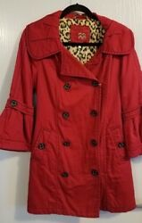 HELP RESCUE DOGCANCER❤️Nordstrom REd Black Pea Coat   jacket New with Tags