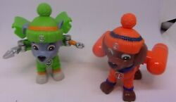 Paw Patrol Action Figures LOT ZUMA & ROCKY PupS With Pop Out ToolS 2.5 INCH CAPS